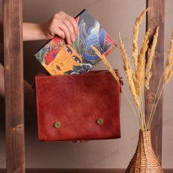 کیف چرم زنانه دست ساز جادار لاکچری