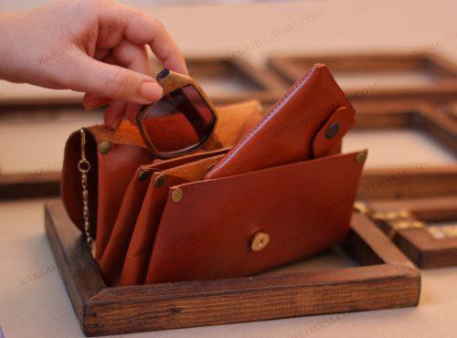کیف پول چرم متفاوت طبیعی بز