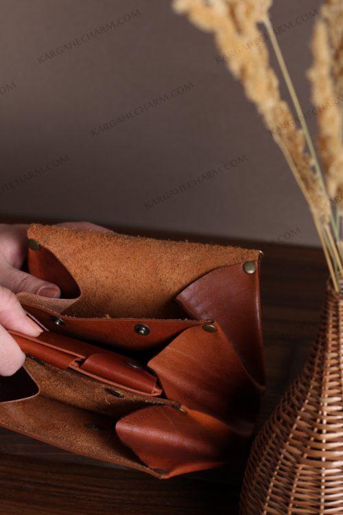 کیف پول چرم جادار خاص مد رنگی