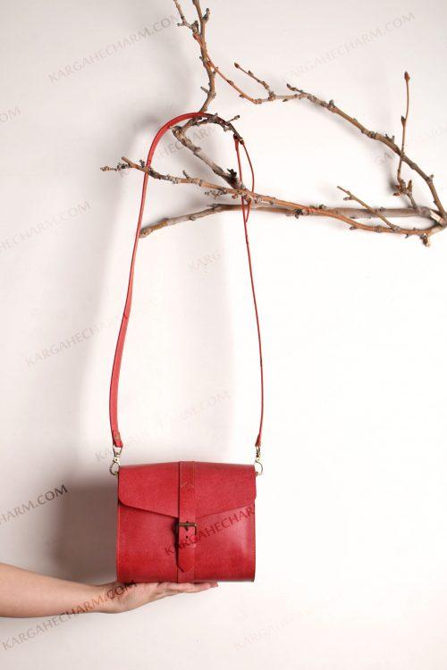 کیف چرم زنانه قرمز تبلیغاتی شیک