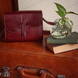 کیف چرم زنانه جادار طبیعی دست دوز