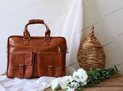 کیف چرم مردانه عسلی
