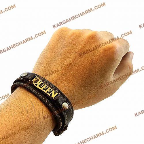 دستبند چرم طرح پلاک کویین