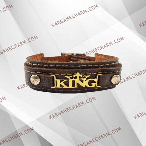 دستبند چرم طرح پلاک کینگ