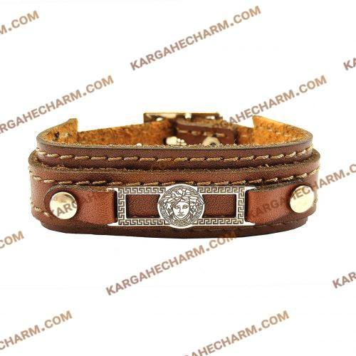 دستبند چرم طرح پلاک ورساچه نقره ای